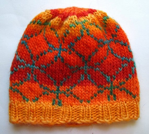 Hand Knit Wool Mosaic Pattern Fair Isle Hat Beanie Colorful