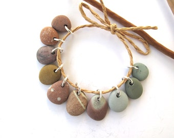 Beach Stone Beads Rock Beads Mediterranean Diy Jewelry Findings Drilled River Stone Beads Small Stone Pairs COLOURFUL CHARMS 13-17 mm