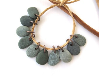Stone Charms Drilled Rock Beads Mediterranean Beach Stone Beads Natural Stone Charms River Stone Pebble Pairs MISTY GREENS 15-16 mm