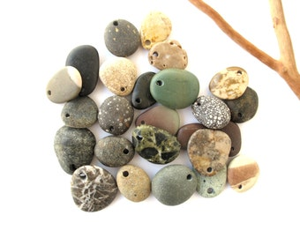 Beach Stone Pendants Top Drilled Stones Natural Stone Beads Mediterranean River Stone Pendants Diy Jewelry ETSY and BETSY 17-24 mm long
