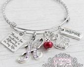 Teacher Bracelet, Bangle Bracelet- Teacher Appreciation Gift-Thank you Gift, Apple charm, Inspire,Charm Bracelet, Personalized Teacher Gift