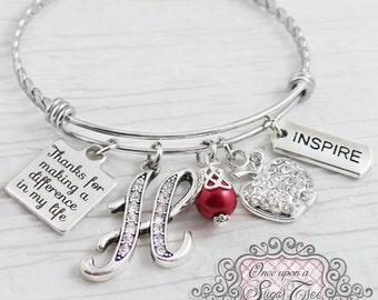 Teacher Bracelet,Bangle Bracelet-Teacher Appreciation-Thank you for making a difference Gift, Apple charm,Inspire, Personalized Teacher Gift