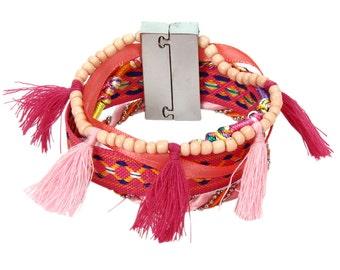 pink bracelet wrap bracelet bohemian bracelet rope bracelet girlfriend bracelet magnetic clasp gypsy bracelet cuff bracelet boho jewelry