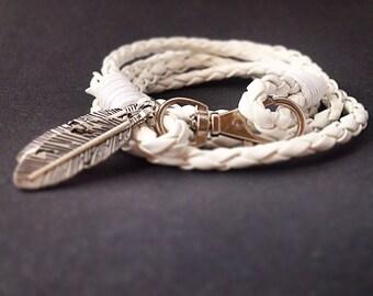 white wrap bracelet white leather white leather wrap leather bracelet women bracelet hippie bracelet for her
