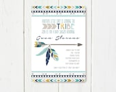 Tribal Baby Shower Invitation Blue Grey Gold Color Scheme