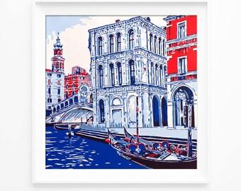 Rialto bridge and gondolas in Venice handmade painting serigraph italian architecture grand canal venetian boat lagoon venezia fine art