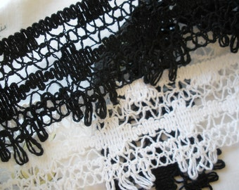 """Boho Black or White Lace trim 2 1/8"""" wide scalloped loop bobbin look fringe edging cotton retro BTY yards home decor sewing costume crafts"""