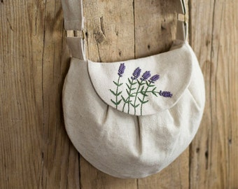 Lavender Flowers Cross Body Bag, Linen and Cotton Hand Embroidered Bag, French Country Purse