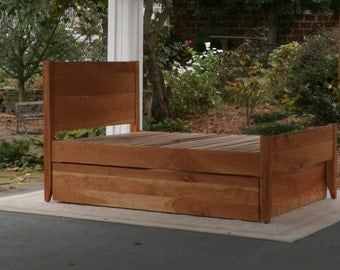 NtRnV3 Solid Hardwood Platform Bed with Trundle & Optional Post and Head Tops, natural color