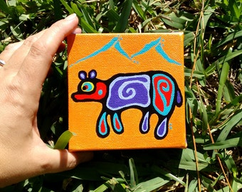 mini painting  4 x 4 canvas Bear