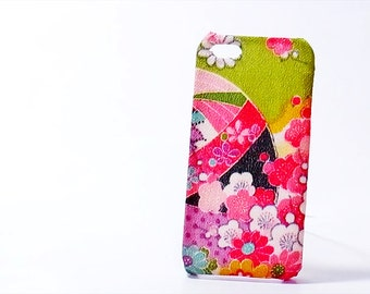 iphone case Japanese Kimono fabric resinated Chirimen Fabric green