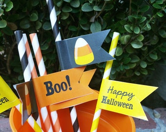 50% OFF SALE - Halloween Candy Corn Straw Flags Printable - Instant Download - Candy Corn Collection