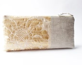 Rustic Linen Clutch for Her, OOAK Gift for Mother, Cosmetic Wallet, Gold Evening Clutch