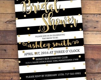 Bridal Shower Invitation - Black & Gold Glitter - DIGITAL FILE