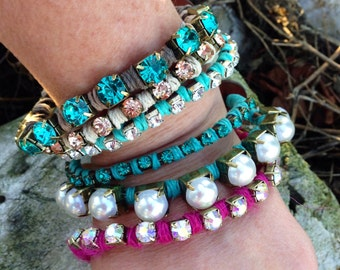 Rhinestone and leather bracelet with pearl accents