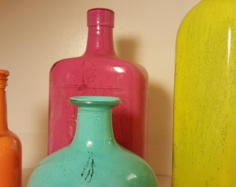Colored Glass Bottles - Set of 4