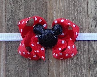 Minnie Mouse Hair Bow~RED Minnie Mouse Hair Bow~Red Polka Dot Minnie Mouse Hairbow~Small Minnie Mouse Bow~Small Pinwheel Bow~Large Hair Bow