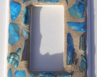 Blue Shell Mosaic Switch Plate  Light Switch Cover  Blue Outlet Cover Mosaic Switchplate  Beach Decor  Blue Decor