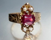 Antique Victorian Garnet and Seed Pearl Rose Gold Engagement Ring 10K in Original Ring Box