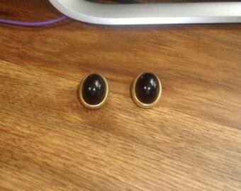 vintage clip on earrings goldtone black lucite