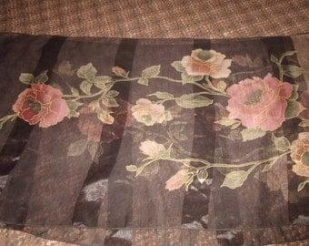 vintage ladies head neck scarf brown rose color flowers oblong