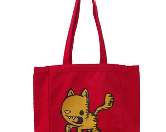 kitty tote bag, book tote, cat tote bag, reusable tote, screen printed tote