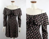 Vintage 80s 90s - Romantic Black & Pink Rose Floral - Ruffle Off the Shoulder Dress