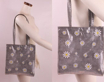 Vintage 60s - Black & White Gingham Plaid - Op Art Daisy - Clear Vinyl Plastic Covered Cloth - Tote Bag Purse