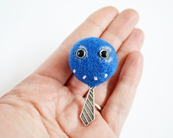 Blue Felt Pheeple Face With Tie - Working Day Pheeple, Looking Smart