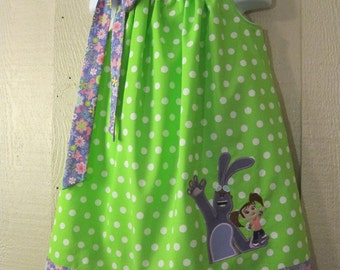 Kate and Mim Mim Pillowcase Dress, Disney Jr Inspired Dress, Green with White Polka Dots and Lavender with Pink Flowers, Size 6 mos to 14