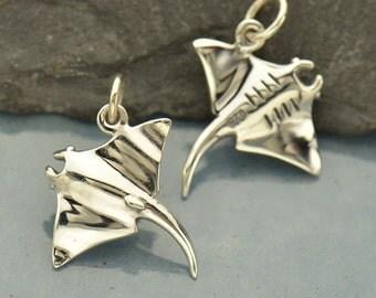 Sterling Silver Manta Ray Charm - Fish Charm - Ocean Charm