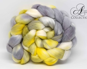 Hand painted Merino Wool Top for Spinning or Felting Grellow