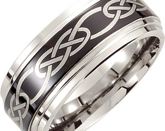 Cobalt mens wedding band, His band, Cobalt 10mmm Black Laser Design Band, Mens Band, Wedding band,Wedding Band,Wedding Ring,Anniversary Ring