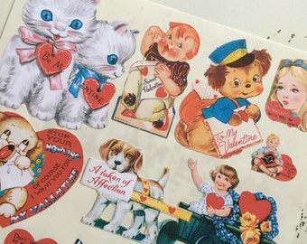 Vintage Valentines Labels Stickers Adorable Kids and Animals Set 2