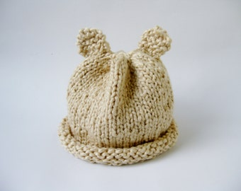 Organic cotton baby hat with ears ivory hand knitted