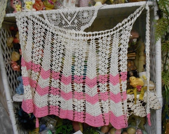 Pink And White Crochet Apron