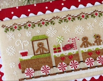 Gingerbread Train #1 Village INCLUDES embellishment : Country Cottage Needleworks cross stitch patterns holidays hand embroidery
