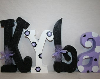 Custom wood letters, Purple and black letters, 15.00 per letter, Teen girl room decor, Kids room, Wood Hanging letters, Wood name letters
