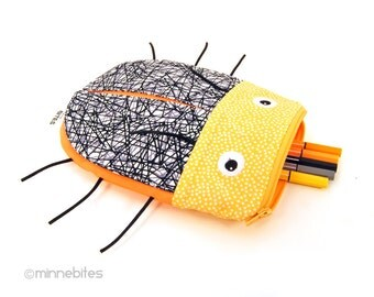 Beetle Bag by MinneBites / Creamsicle Orange Bug - Handmade Pencil Pouch - Gift for Kids - School Case - Cute Purse Wristlet - Ready to Ship