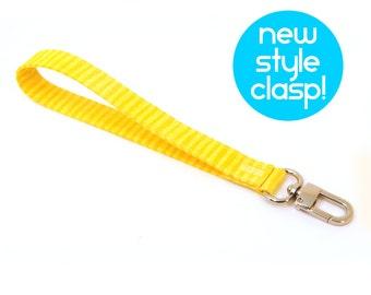 Wrist Strap by MinneBites / Handmade Bright Yellow Wristlet Strap - Honey Bee Key Chain - Wallet Wrist Strap - Wrist Lanyard - Ready to Ship