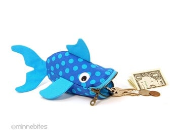 Blue Spotted Fish by MinneBites / Handmade Turquoise Fish Pouch - Coin Purse Wristlet - Cute Toddler Gift - Guppy Fish Bag - Ready to Ship