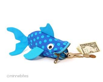 Blue Fish - Coin Purse - Cute Wristlet - Toddler Gift - Purse Organizer - Lip Balm Holder - Small Zip Bag - Boys Pouch - Ready to Ship
