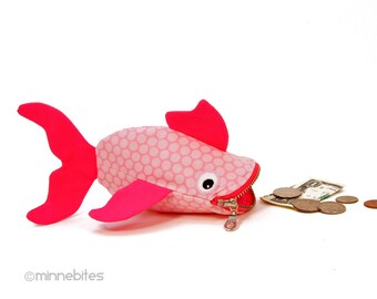 Pink Fish Pouch by MinneBites / Handmade Spotted Pink Fish - Small Girls Coin Purse - Pet Guppy Wristlet - Cute Toddler Gift - Ready to Ship