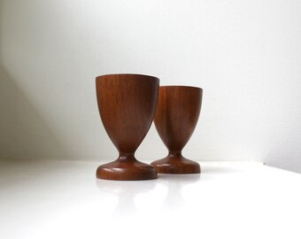 Vintage Modern Teak Candle Holders Pair 1960's Goblets Hand Turned Mid Century