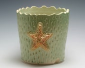 Handmade Pale Green Porcelain Textured Ceramic Utensil Holder OR Planter with Starfish and Hand Carved Texture/Ceramics and Pottery