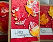 Happy Thanksgiving Cards Set of 3, Thanksgiving Greeting Cards, Watercolor Cards, Leaf Cards
