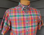 vintage 1980's -Tiger- Men's short sleeve - 3 button collar shirt. Vibrant Madras - All cotton. Made in India. Medium