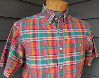 vintage 1980's -Tiger- Men's short sleeve - 3 button collar shirt. Vibrant Madras - All cotton. Made in India. Medium