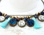Wolf Necklace - Beaded Necklace with Blue Druzy and Gemstones, Wolf Jewelry