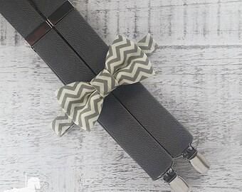 Boy Suspender Bow Tie Set - Gray & Cream Chevron Bow Tie - Gray Suspenders - Wedding Accessory